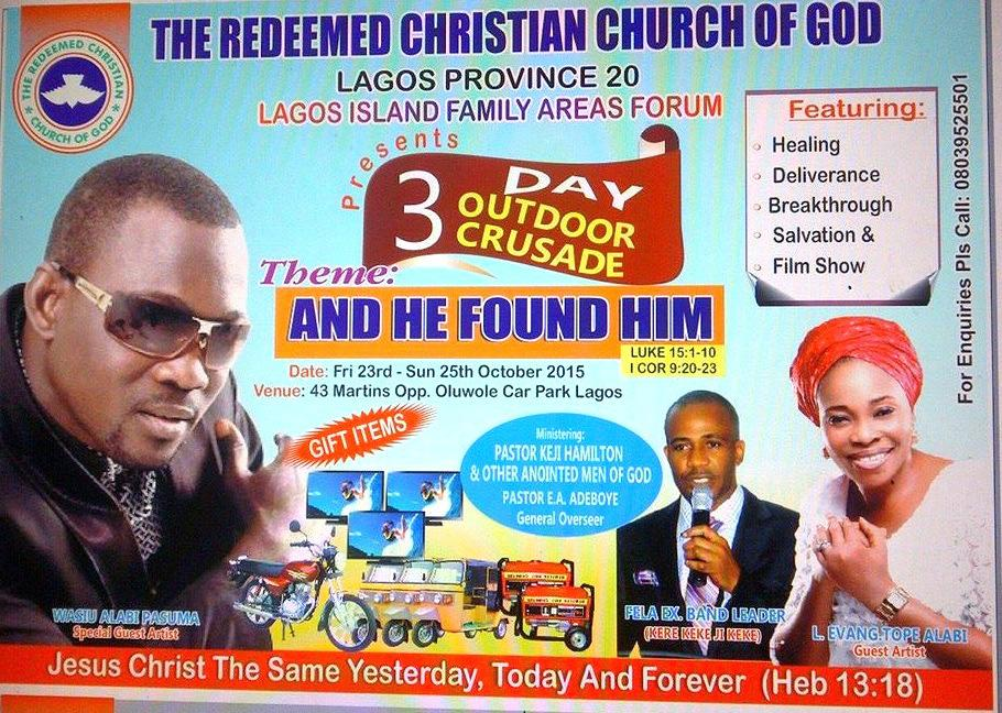 reedem church include pasuma in handbill religion nigeria