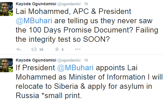 Kayode Ogundamisi Blasts Lai Mohammed For Denying Buhari's 100 Days In Office