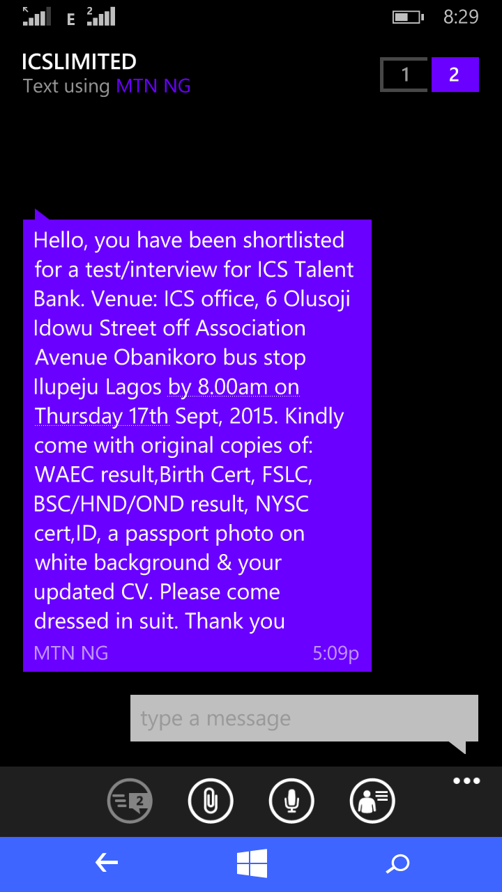Ics talent bank testintetview invitation jobsvacancies nigeria me is skeptical about the ics textinterview invitation i have attaches a screen grab of the text help me with clarification please stopboris