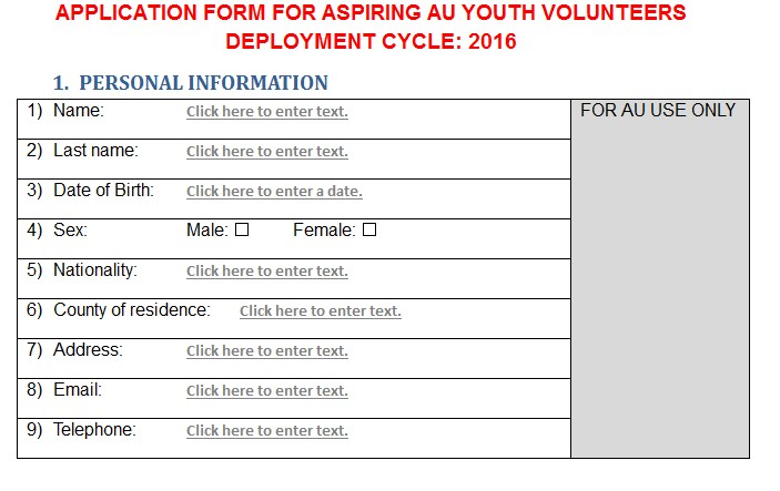 Apply For The African Union Youth Volunteer Corps AUYVC 2016 – Youth Allowance Form