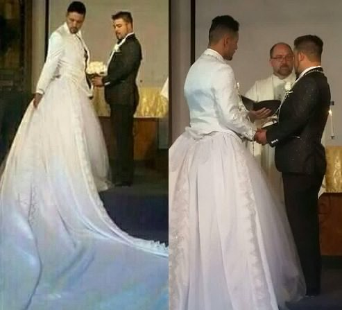 Man Wears Wedding Dress As Priest Joins Him With Partner On Altar He Wore The Cloth To Look Like Wife But This Really Shown That World Is Already