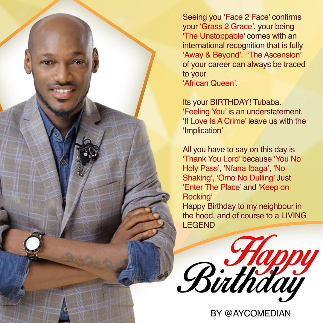 Check Out AY Comedian Creative Message To 2face Idibia