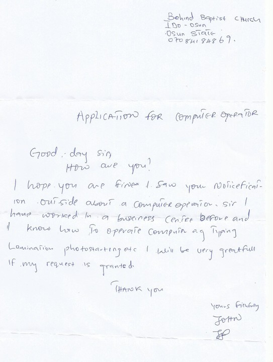 Application Letter Witten By An Employee For The Position For