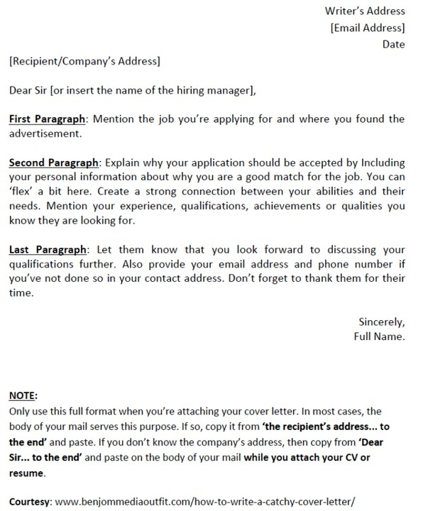 How To Write A Catchy Cover Letter [template Included
