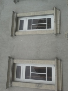 Pop plaster of paris wall screeding and window for Window hood design in nigeria