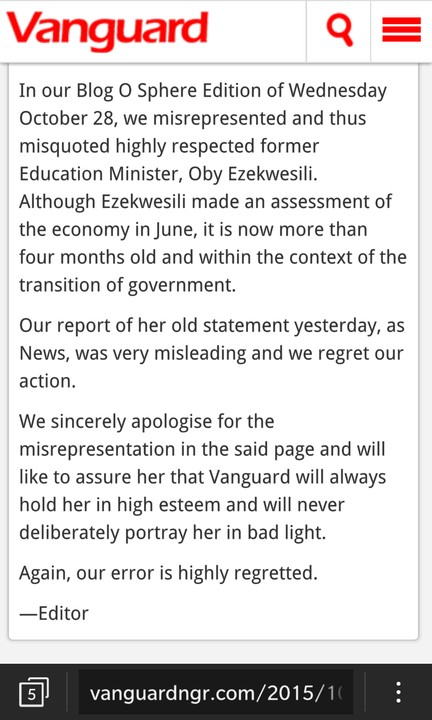 Vanguard's Apology To Oby Ezekwesili -