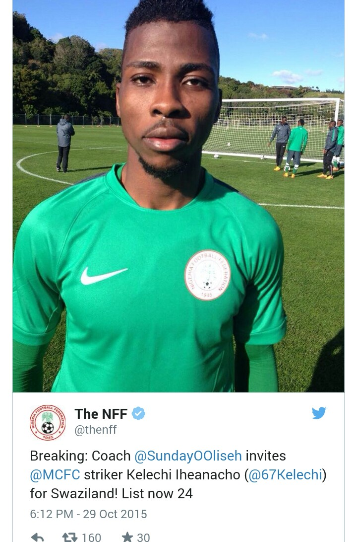 Just in: Oliseh calls up Man City's Iheanacho for WC Qualifiers