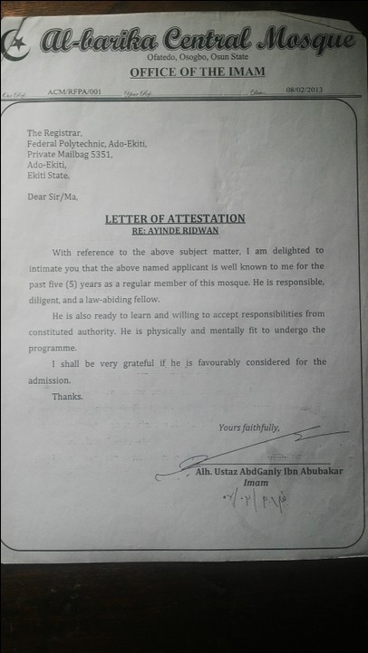 Character Recommendation Letter