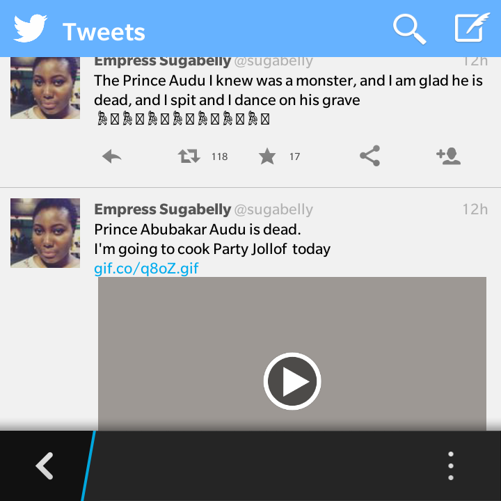 Girl Rejoices Over Audu Abubakar's Death. Claims His Sons Gang Raped Her And He Covered It Up 3