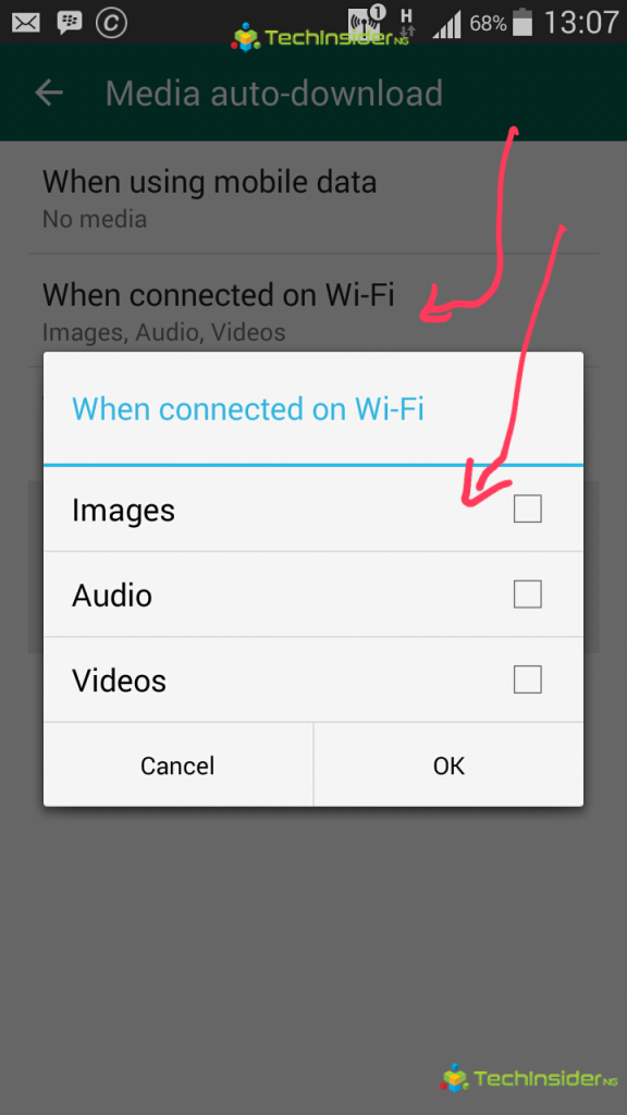 Whatsapp android disable auto download