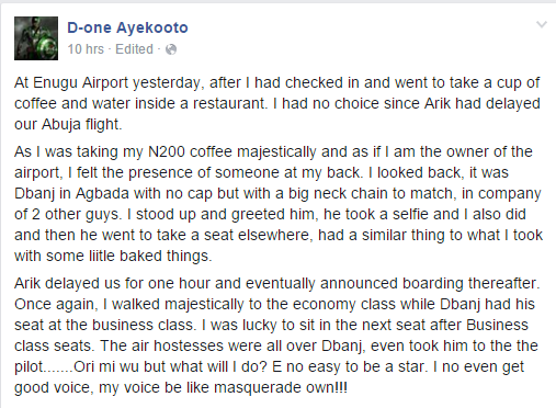 Angry Woman Made D'banj Prostrate Before Her At Enugu Airport