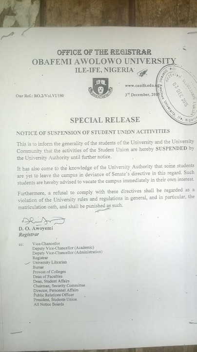 OAU Management Shuts Down SUG Activities (PICTURE)