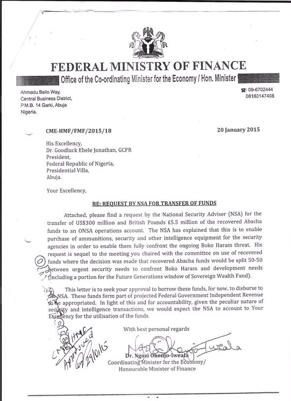 A Copy Of Okonjo Iweala S Letter Requesting Approval For Nsa Fund