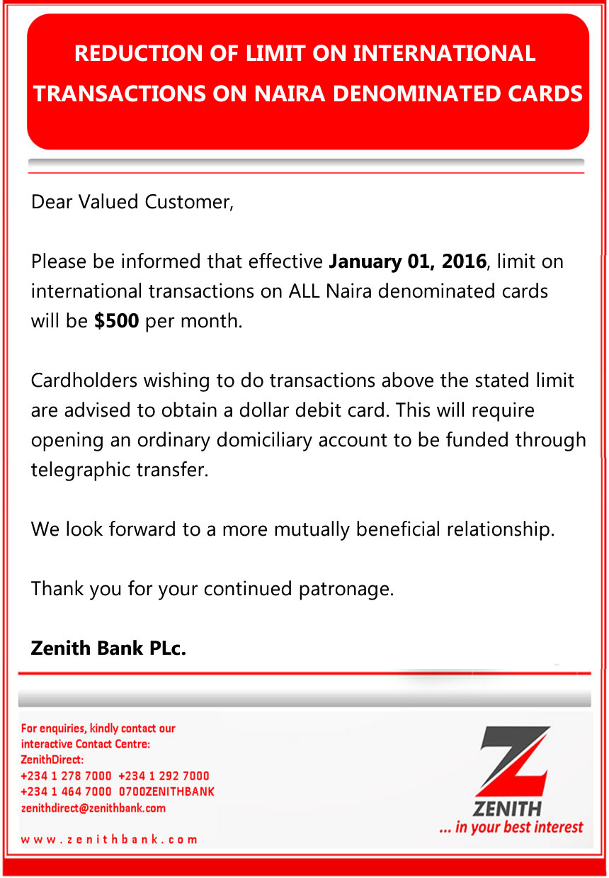 I am not sure but I got this email from Zenith Bank informing me of some changes , check the email I received