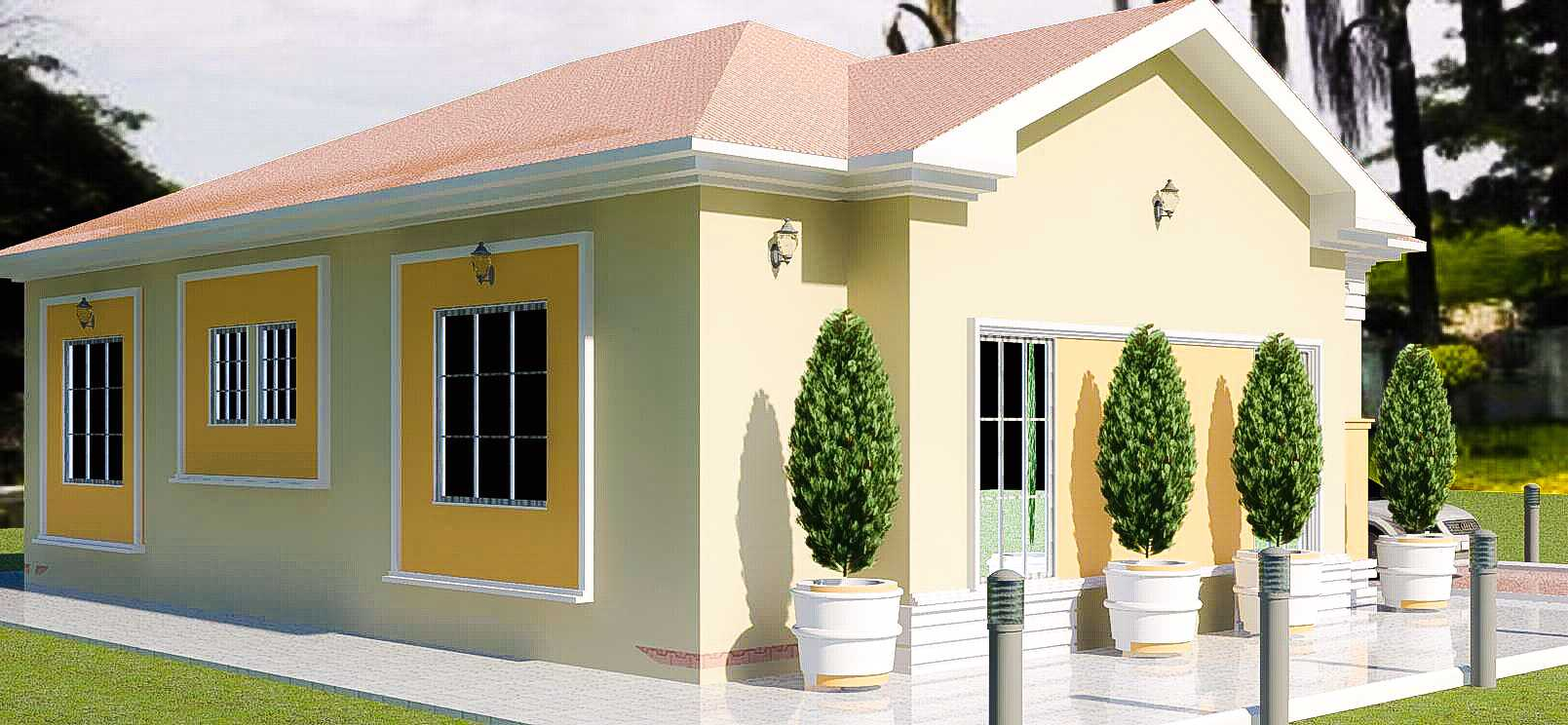 Construction of a low cost three bedroom bungalow in for Cost of building a 4 bedroom bungalow in nigeria 2017