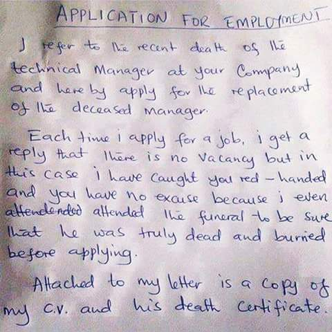 hilarious see this funny application letter written to a company