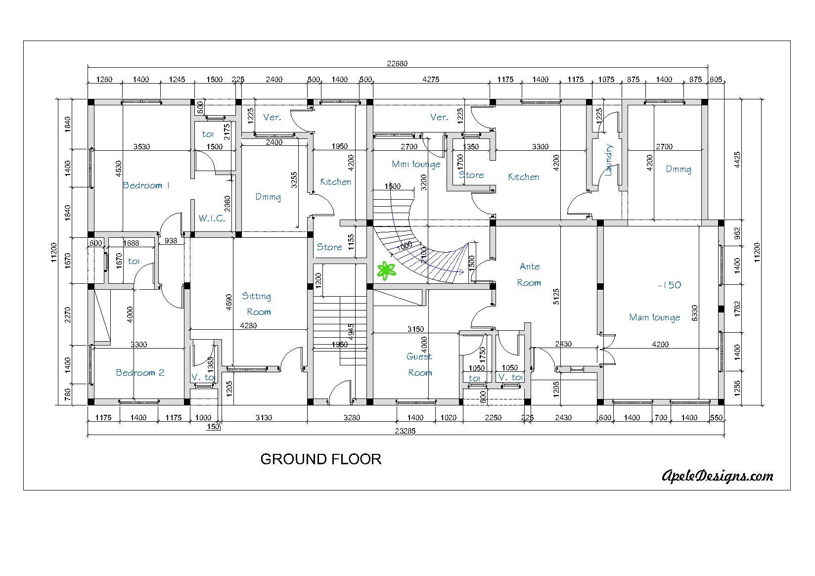 Get any floor plan for free here properties nigeria for Residential building floor plan