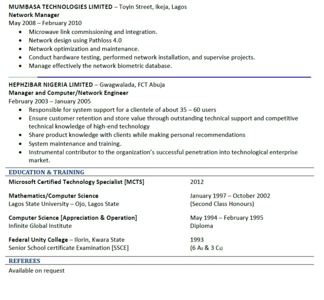Good Cv Sample Jobs Vacancies Nigeria
