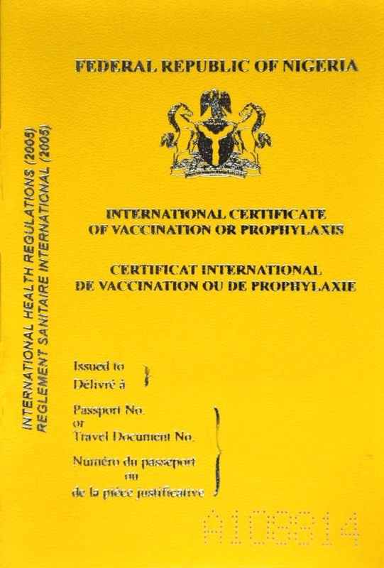 Yellow Fever Card Travel Nigeria
