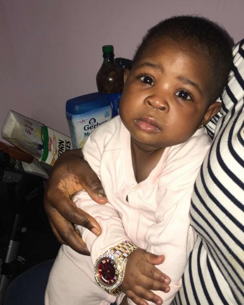 Davido's Daughter Wearing His $120k Rolex Watch (Photo)
