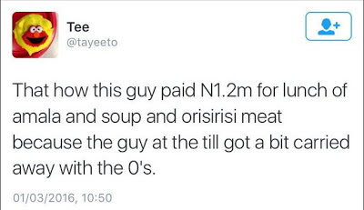 OMG! Guy Accidentally Pays N1.2Million For A Plate Of Amala And Soup
