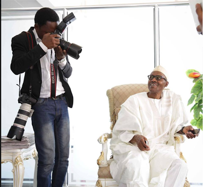 President Buhari All Smiles As He Poses For A Photo At The Villa