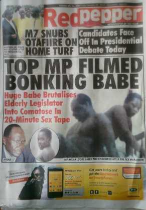 EXPOSED: Ugandan Legislator's Photos Having Sex With GF Published On Pages Of Newspaper