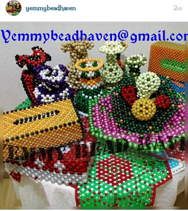 Check out this bead designs. Mention if any question. & Beaded Flower Vases And Table Cover - Fashion - Nigeria