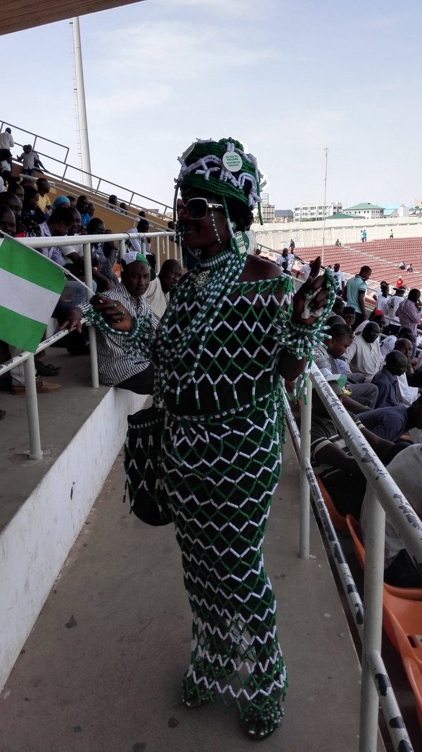 Patriotic Nigerian Woman Causes Stir With Beaded Ensemble At Kaduna Stadium For Nigeria Vs Egypt Match
