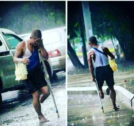 J Martins Shares Picture Of One-legged Man Working Under The Rain - Celebrities