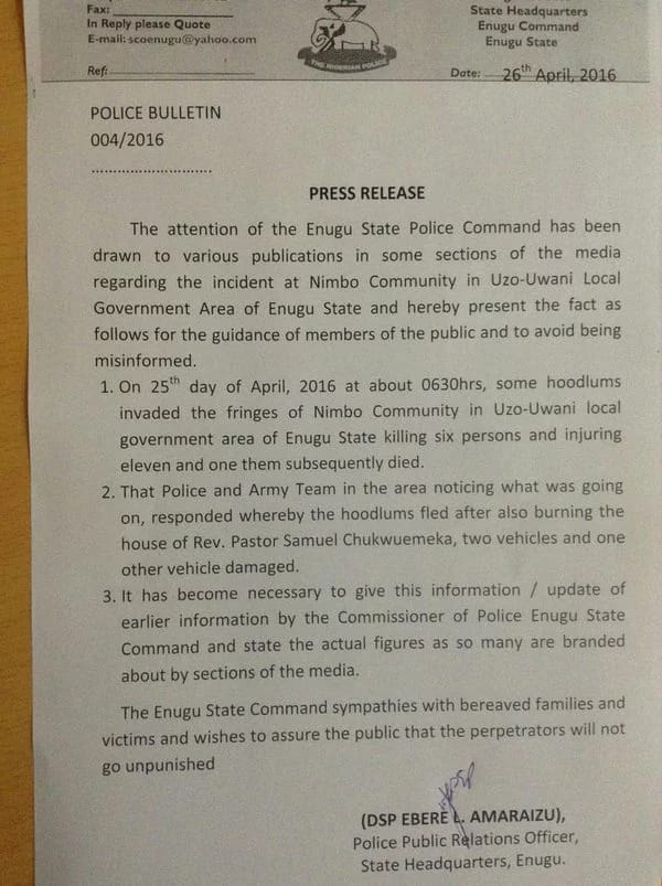 Enugu Attack: Police Releases Statement