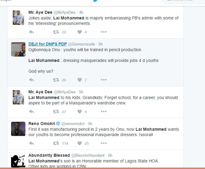 MNI Fresh: Lai Mohammed trends on twitter after Masquerade Statement (Snapshots)