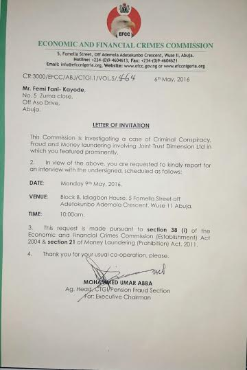Efcc formally invites femi fani kayode see the invitation letter source httptrezzyblog201605efcc formally invites femi fani kayodeml stopboris