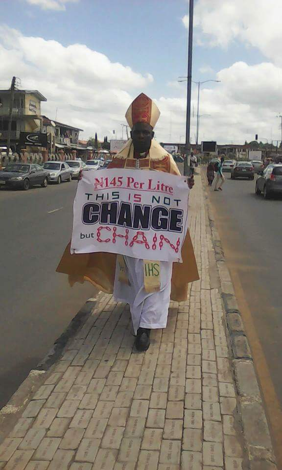 Bishop Spotted Protesting The Hike In Fuel Price Alone In Oshogbo