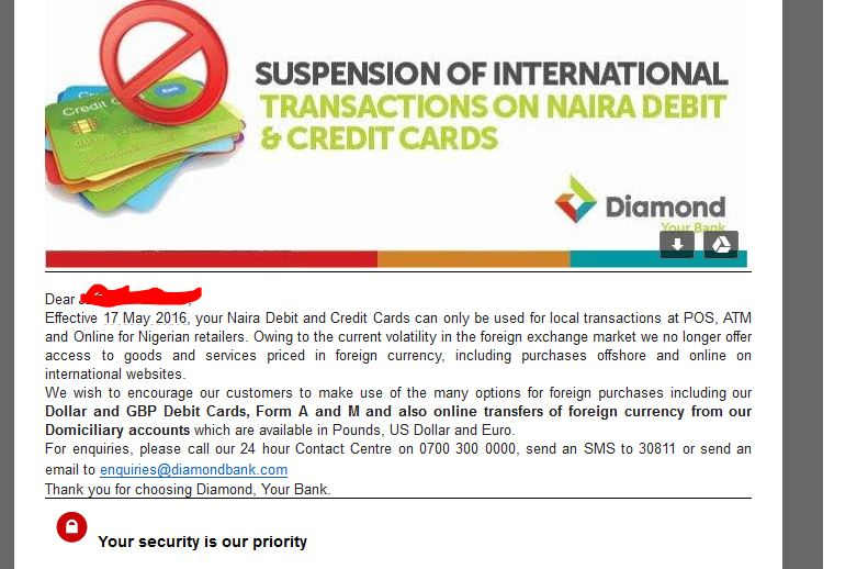 Diamond Bank Suspend International Transactions On Naira