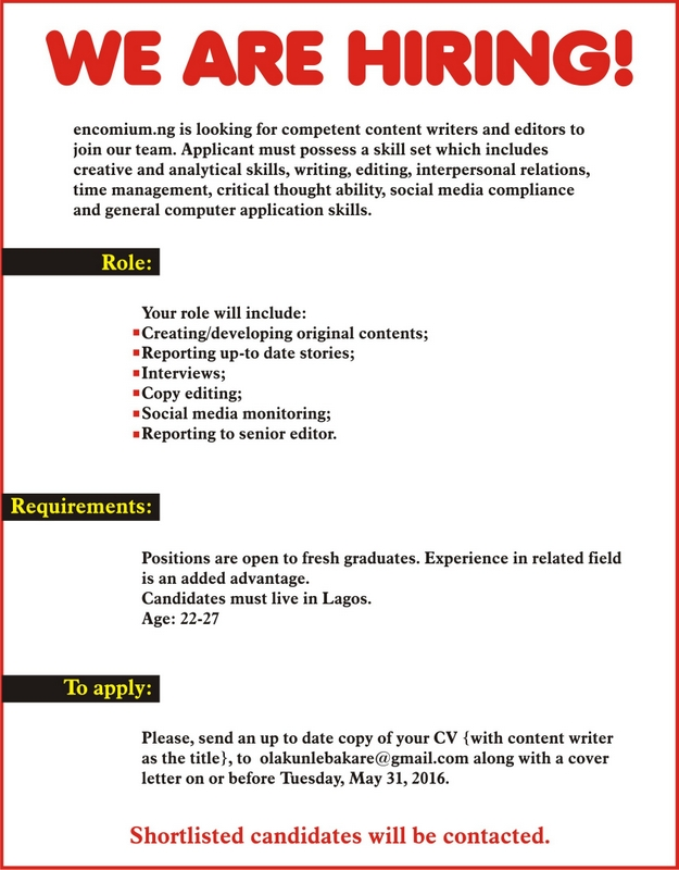 Vacancy At Ecomium Magazine  JobsVacancies  Nigeria