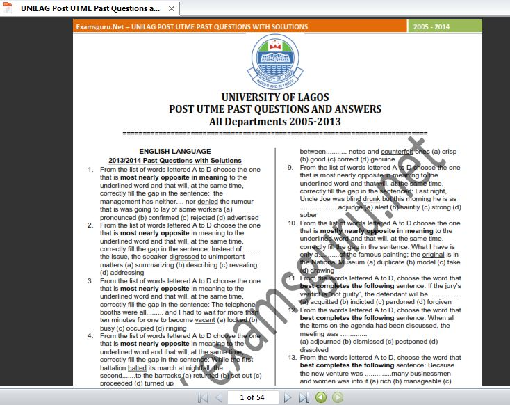 free downloadable post utme past questions and answers for