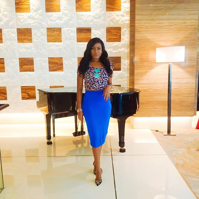 Actress Chika Ike Stuns In Blue Chic Pencil Skirt In Dubai (See Photos)