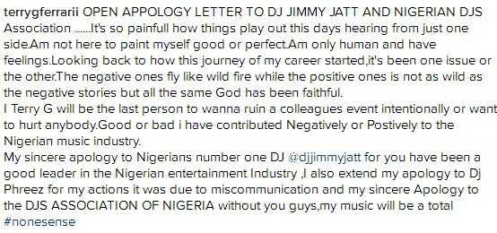 Terry G Slaps DJ, Apologizes to Nigerians (Snapshot)