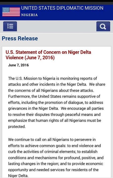 US EMBASSY TO NIGERIA REACTS TO NIGER DELTA CRISIS