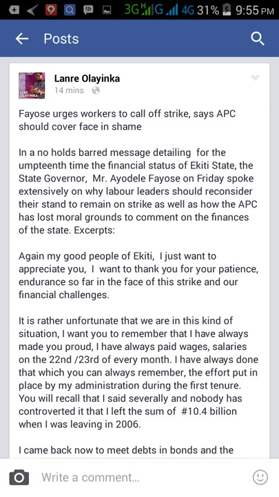 Fayose Urges Workers To Call Off Strike, Says APC Should Cover Face In Shame