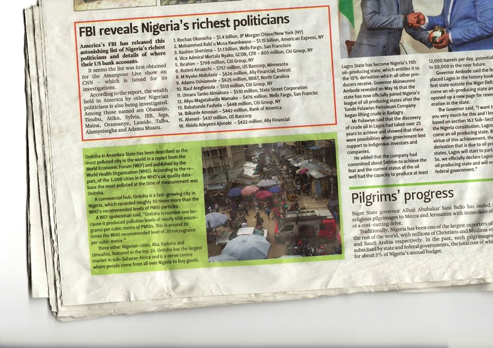 FBI Releases List Of Nigeria's Richest Politicians