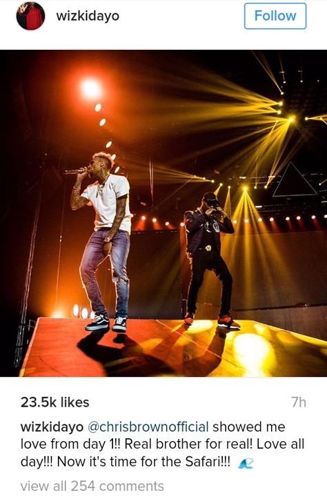 Chris Brown with Wizkid on stage