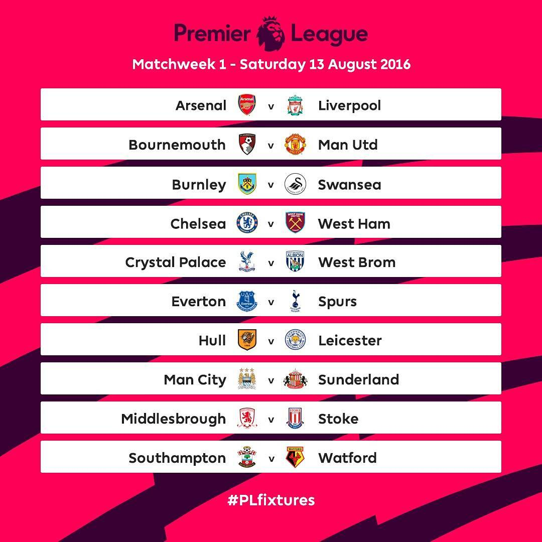 Epl 2016 17 table fixtures announced today photo sports nigeria - Today premier league results and tables ...