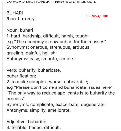 "I Was Surprised To See ""Buharification"" In My New Oxford ..."