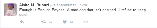 Aisha Buhari Blasts Fayose on Twitter, Nigerians React (Photos)