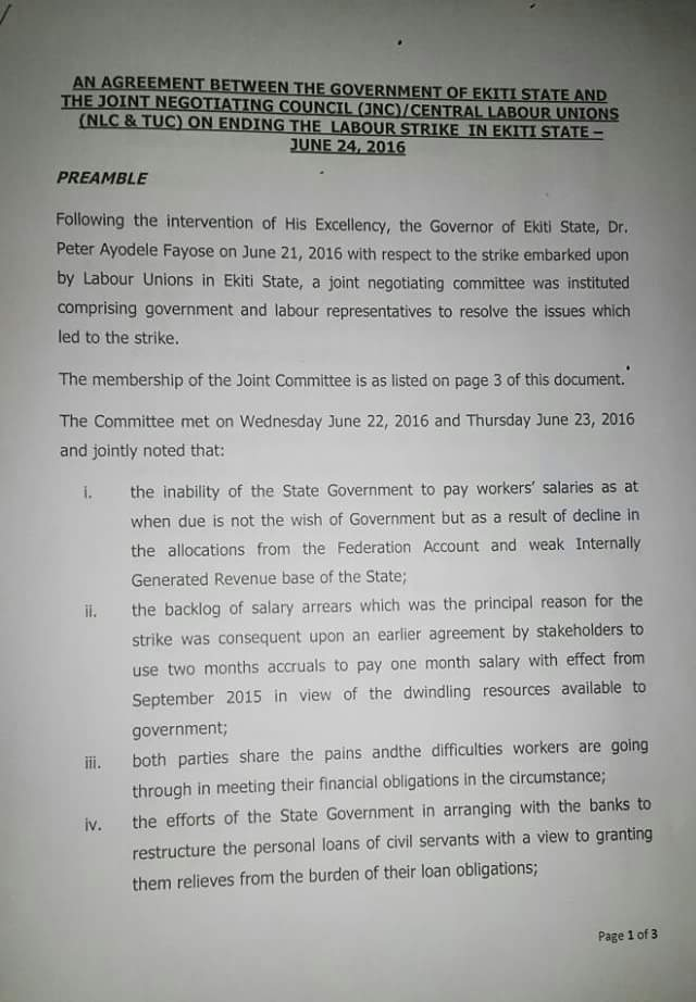 Ekiti State Workers Suspend Strike, Sign Agreement With Government (Snapshot)
