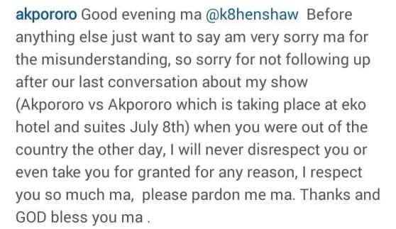 Comedian Akpororo Apologizes To Kate Henshaw After Her Outburst
