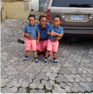 Taiwo Aromokun And Her Twin Boys In Matching Outfit