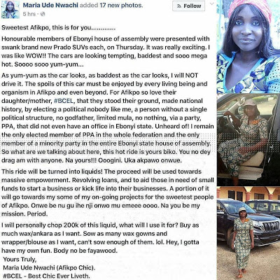 Ebonyi Lawmaker Promises To Sell The SUV Gifted To Her By The Governor (See Photos)